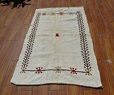 Turkish Cicim Rug 3x4.5 ft White Kilim Rug Saddle Blanket #kilim #rug #carpet #vintage #cicim #tribal #boho #turkish oriental