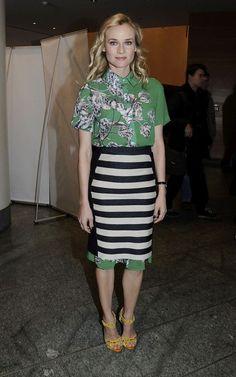 Diane Kruger, pencil skirt over the top of a dress....smart right? :)