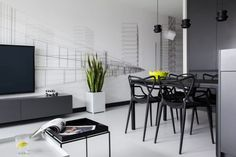 Here are list of the awesome minimalist apartment designs ever presented on sweet house. Find inspiration for Minimalist Apartment Design to add to your own home. Black And White Interior, White Interior Design, Apartment Interior Design, Black White, Chaise Masters, Minimalist Studio Apartment, Masculine Apartment, White Apartment, Stockholm Apartment