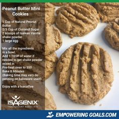 Isagenix Snacks on Cleanse Days - Reviews & Nutritional Information - Isagenix recipe, Isagenix products, Isagenix desserts, Peanut butter cookies, healthy cookies, protein cookies, kids snacks, Isalean shake powder, Lisa Stevenson
