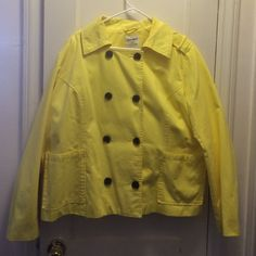 Spring Jacket NWOT. Pea coat style jacket for Spring. 100% cotton, lined, very comfortable and breathable. Perfect for cool days! Beautiful sunny yellow! Photos don't do color justice! Absolutely perfect condition. Offers welcome! Old Navy Jackets & Coats