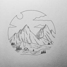 mountain sketch - Akoya Roth - Re-Wilding Sketchbook Drawings, Pencil Art Drawings, Doodle Drawings, Tattoo Sketches, Drawing Sketches, Drawing Ideas, Tattoo Drawings, Sketching, Landscape Drawing Easy