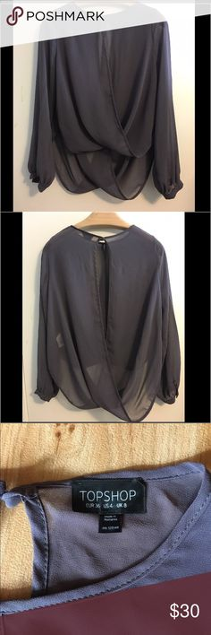 Topshop gray, sheer, draped blouse (sz 4) Topshop gray, sheer, draped blouse (size 4). Excellent condition! New without tags. Topshop Tops Blouses