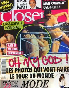 La princesa Kate Middleton, aparece en la portada de la revista francesa 'Closer' pillada en topless vía @cerestv