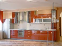 Two Tone Kitchen Cabinets Ideas Concept With Modern Door Design And Painted Combining Color Like In This Images Picture Minimalis Orange