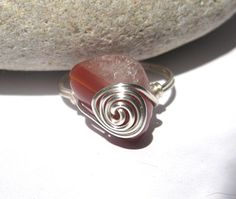 Spiral agate ring two tone gemstone ring wire wrapped  by SunshineDaydreamz