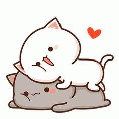 Cute Anime Cat, Cute Bunny Cartoon, Cute Kawaii Animals, Cute Cartoon Pictures, Cute Love Cartoons, Cute Cat Gif, Cute Cats, Cute Bear Drawings, Cute Cartoon Drawings