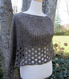 Kelley's Ponchito is a light and lacy short poncho crocheted from side to side as a single rectangle and then seamed to create the poncho shape. The neck opening is crocheted last. Kelley's Ponchito offers a change from the usual wrap and shawl shapes. However, the design can be crocheted and worn as a rectangular wrap, as well.Dimensions: The completed and blocked piece is 31 in. (78 cm) around the top of the neck and 25 in. (63 cm) from the top to the poncho point.The following sti...