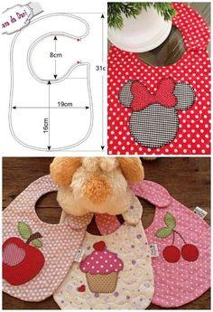 Best 12 10 bib molds for printing 02 - Bibs - Doll Shoe Patterns, Baby Shoes Pattern, Baby Dress Patterns, Bib Pattern, Baby Sewing Projects, Sewing For Kids, Sewing Crafts, Baby Hug, Baby Baby