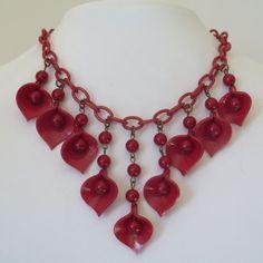 Vintage-1940-s-Cherry-Red-Celluloid-Chain-Dangle-Bib-Necklace-Bracelet-Set
