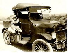 Bill Hogan, who retired in 1990 as general manager of Phoenix Newspapers Inc., is shown here in 1928 on the fender of a Model T. He and his parents lived in a tent for a while after moving from Kansas City that September.