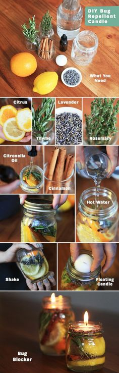 This is one sweet smelling, bug repelling candle! Make your own in a few easy steps. Fill a mason jar with citrus rinds and herbs. Add 20 to 30 drops of citronella oil. Top with hot water to help develop the scent. Float a candle at the top of the jar and Jar Crafts, Diy And Crafts, Bug Repellent Candles, Insect Repellent, Dremel 3000, Citronella Oil, Citronella Candles, Candels, Ideias Diy