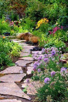 stepping stones, garden, purple