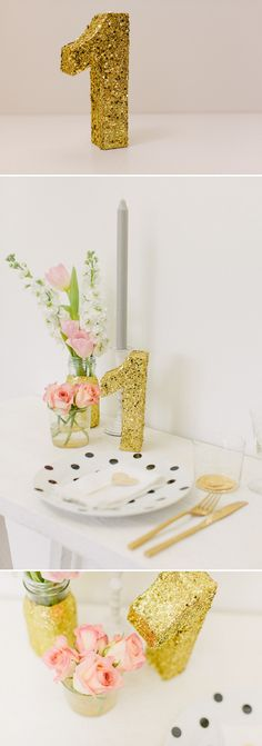 How to create a golden glittery table number for your wedding table settings and table plans. 0005 D.I.Y. Glitterific Table Numbers