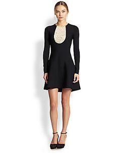 ebb861f9ba09 Valentino Knit+Lace-Insert+Dress