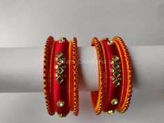 Excited to share the latest addition to my shop: Silk Thread Bangles * Set of 10 Bangles * Orange and Red Silk Thread Bangles Design, Silk Thread Earrings, Thread Jewellery, Kundan Bangles, Silk Bangles, Bangle Set, Bangle Bracelets, Bangles Making, Canvas Lights