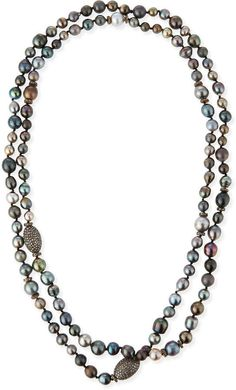"Sheryl Lowe Tahitian Pearl & Pave Diamond Long Necklace, 48""L"