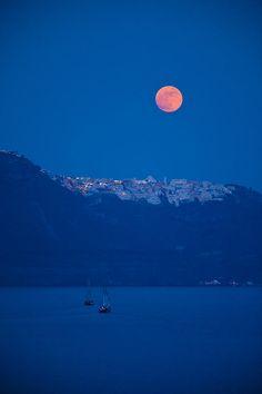 Moon over Santorini & Fira , Greece
