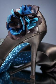 Wedding Shoes - Brown Peep Toe Wedding Shoes with Blue Glittered Sole and Brown and Blue Flower on Ankle