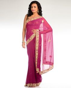 Deep Orchid Sari with Heavy Border