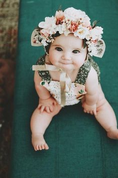 Flower Crown Bonnet with ears Fawn Floral Bonnet Baby