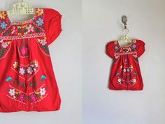 vintage mexican girl's dress - FLOR red embroidery dress / 6-12M by MsTips on Etsy https://www.etsy.com/listing/490417054/vintage-mexican-girls-dress-flor-red