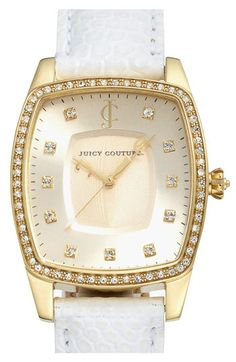 Juicy Couture 'Beau' Crystal Accent Leather Strap Watch | Nordstrom $250.00