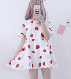 Sweet Strawberry Printed Dress Source by sephycupcake kawaii Komplette Outfits, Tumblr Outfits, Girly Outfits, Korean Outfits, Fashion Outfits, Harajuku Fashion, Kawaii Fashion, Cute Fashion, Fashion Looks
