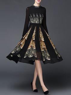 Shop Midi Dresses - Long Sleeve Elegant Floral Printed Midi Dress online. Discover unique designers fashion at StyleWe.com.