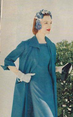 Cornflower blue linen dress and coat by Henry Rosenfeld