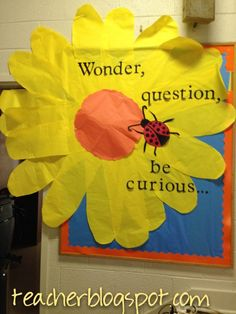 Science/Social studies bulletin board in the back of room? Cafe Bulletin Boards, School Welcome Bulletin Boards, Flower Bulletin Boards, Science Bulletin Boards, Bulletin Board Design, Teacher Bulletin Boards, Science Boards, Spring Bulletin Boards, Classroom Window Decorations