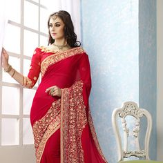 #Red #ChiffonSaree with Blouse