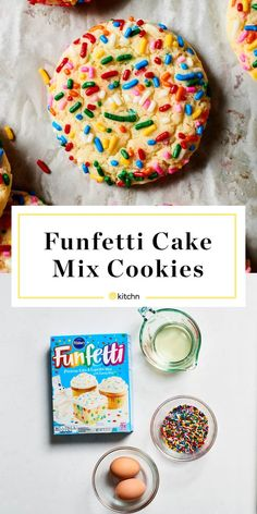 These easy Funfetti cake mix cookies are cute, yummy and fun to make and eat. Best of all they are quick and easy because they use cake mix, but they taste just as good as cookies from scratch that ar Funfetti Cookie Recipe, Funfetti Cake Mix Cookies, Cookies And Cream Cake, Cake Mix Cookie Recipes, Easy Cheesecake Recipes, Cupcakes, Sprinkle Cookies, Birthday Cake Cookies, Pie Cake