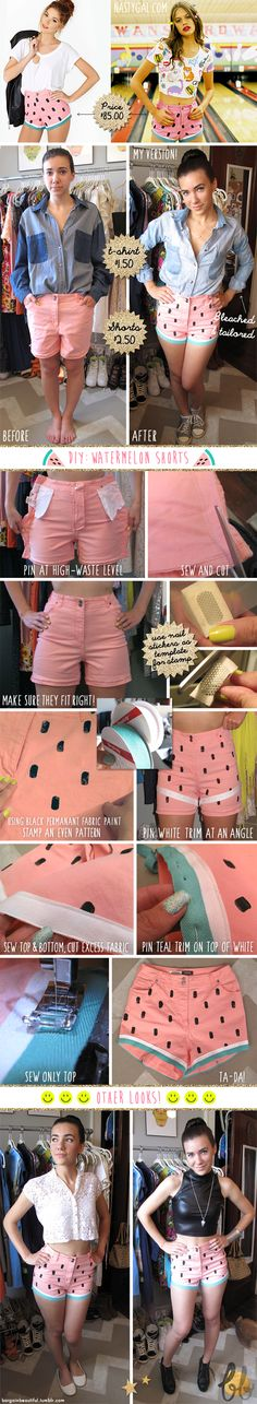 Bargain Beautiful - DIY watermelon shorts! Fun for summer :)