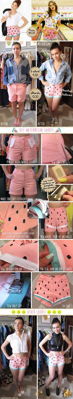 Bargain Beautiful - DIY watermelon shorts! Fun for summer :)