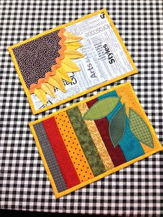 Erfly Threads Fall Mug Rug Swap 2016 Prairie Points Sunflower Quilts Tablerunners