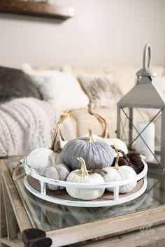 Neutral Fall Decor Home Tour #fallinspiration #falldecor Pumpkin Decorating, Decorating Your Home, Fall Decorating, Fall Home Decor, Autumn Home, White Pumpkin Decor, White Pumpkins, Love Decorations, Christmas Decorations