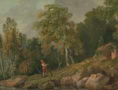 Wooded Landscape with a Boy and his Dog, by George Barret. ca. 1770. Oil on canvas. On VintPrint.com. #poster #art #painting #british