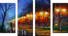 'Fall, Rain, Alley' by Leonid Afremov 4 Piece Painting Print on Wrapped Canvas Set