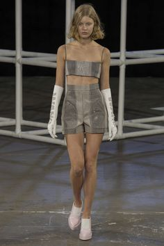 """Spring 2014 Ready-to-Wear Alexander Wang / Alexander Wang was a teenager the first time logo mania came around in the nineties. """"That was the height of me in high school, reading and obsessing over [magazines] and being a fashion geek,"""" he said before his show today. Branding would seem to be top of mind for the designer, who is not yet 30 and heading up not only his own company, but also Balenciaga."""