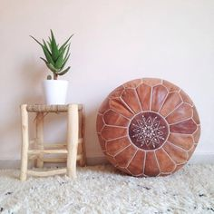ROUND BROWN POUF - High-Quality Leather Moroccan Tanned Ottoman - Handmade Floor Cushion by ZineInteriors on Etsy https://www.etsy.com/listing/280558016/round-brown-pouf-high-quality-leather