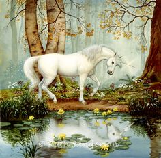 """""""Unicorn Forest"""" by Ruth Sanderson oil on board"""
