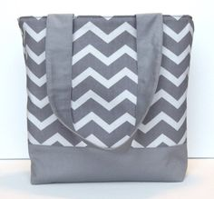 Gray on Gray Chevron Tote by WrapItUpByG on Etsy, $28.00