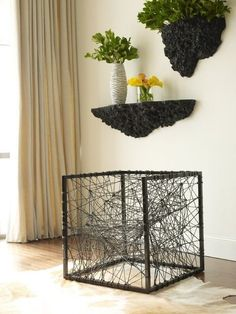 Unique Black Cord Web Modern Contemporary Accent Arm Chair Artistic Metal Frame