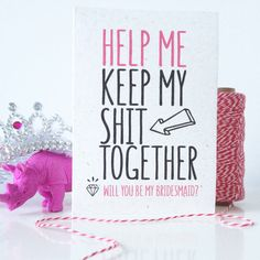This funny Will you be my bridesmaid card is bright and modern and straight to the point!  Even more awesome is that you can choose to have it printed on real elephant or rhino dung card! And because...you love your man but you NEED your girls! This is a great card to help start your wedding planning journey with a smile! Materials: White premium card 220gsm. Size:  A6 (105 x 148 mm or 4.1 x 5.8 in)   If you have any questions or special request please get in touch.