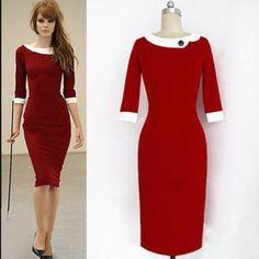 USD13.49Fashion O Neck Half Sleeve Sheath Red Polyester Mini Dress