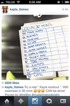 Kayla itsines workout ! i follow her on instagram and she is such an inspiration and i start her workouts tomorrow! and deff ordering her training book ! :)