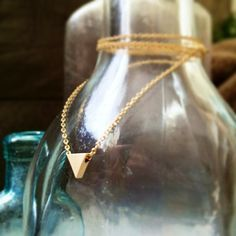 16k Gold Plated Tiny Triangle Necklace by Sunray Jewels on Opensky #jewelry