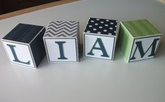 Wooden Name Blocks - Navy Gray Lime Green. $4.50, via Etsy. Newborn pictures. Maternity photo. Photo prop. Nursery decor