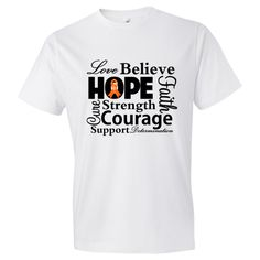 Kidney Cancer Love Hope Believe and Faith  Men's Fashion T-Shirts featuring a typographic design spotlighting supportive words such as strength, courage, determination, cure, support and an awareness ribbon  #KidneyCancerAwareness